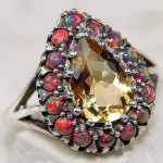 citrine red opal ring