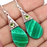 malachite peridot earrings 925